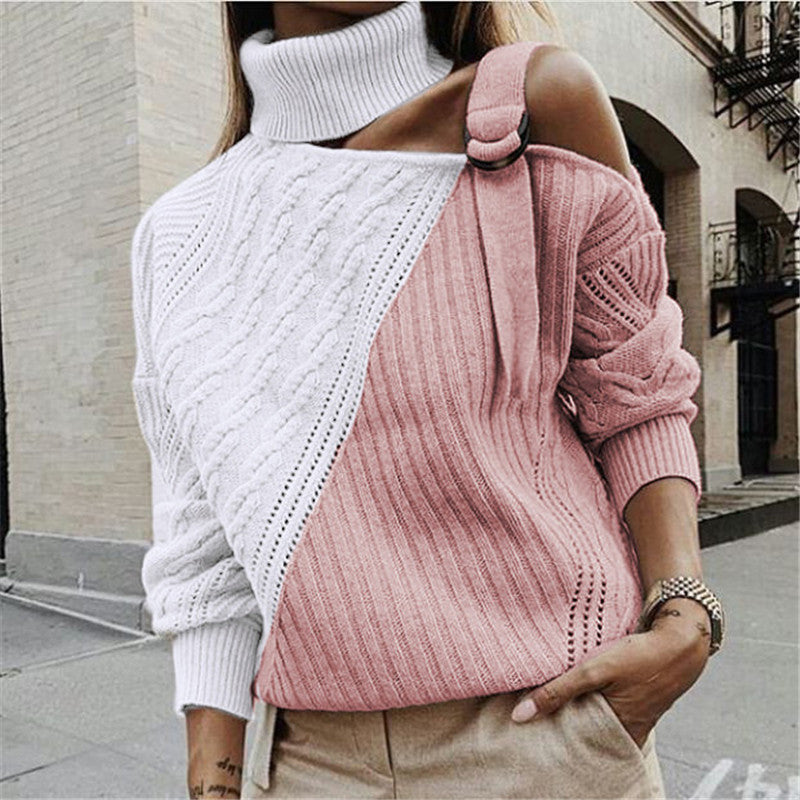 Women's off-the-shoulder long sleeve colorblock sweater