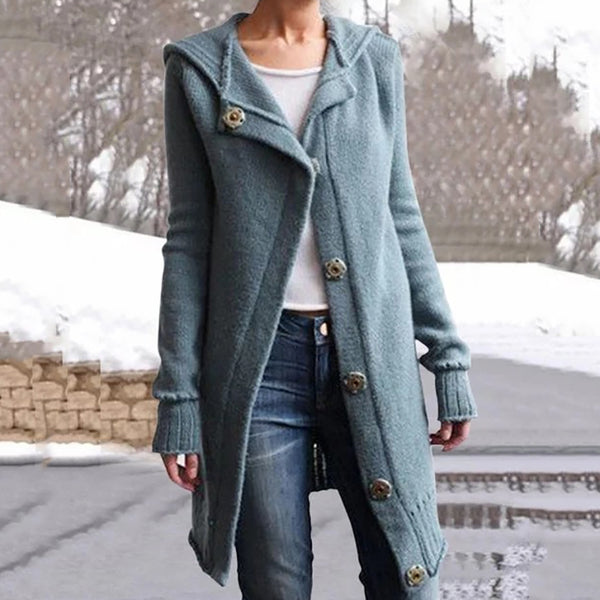 Women's Casual Turndown Collar Long Sleeve Pure color Loose Coat&Overcoat