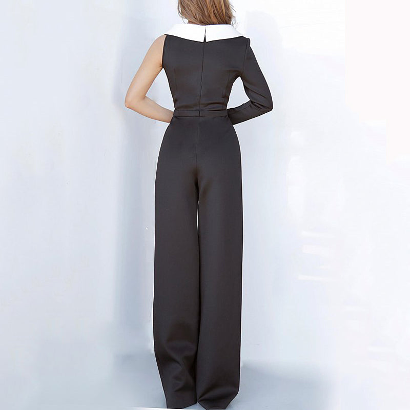 Women's Fashion V-neck Colorblock Jumpsuit