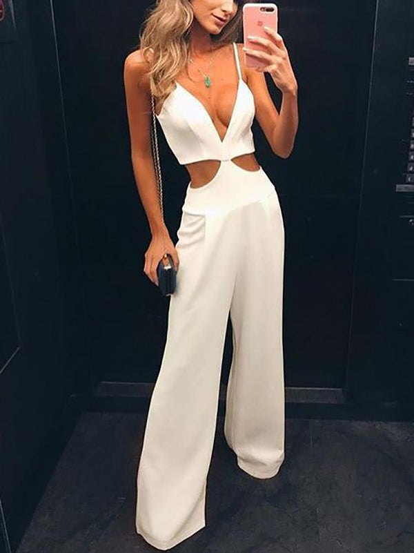 Sexy V Neck Hollow Out Pure Colour Sleeveless Jumpsuits