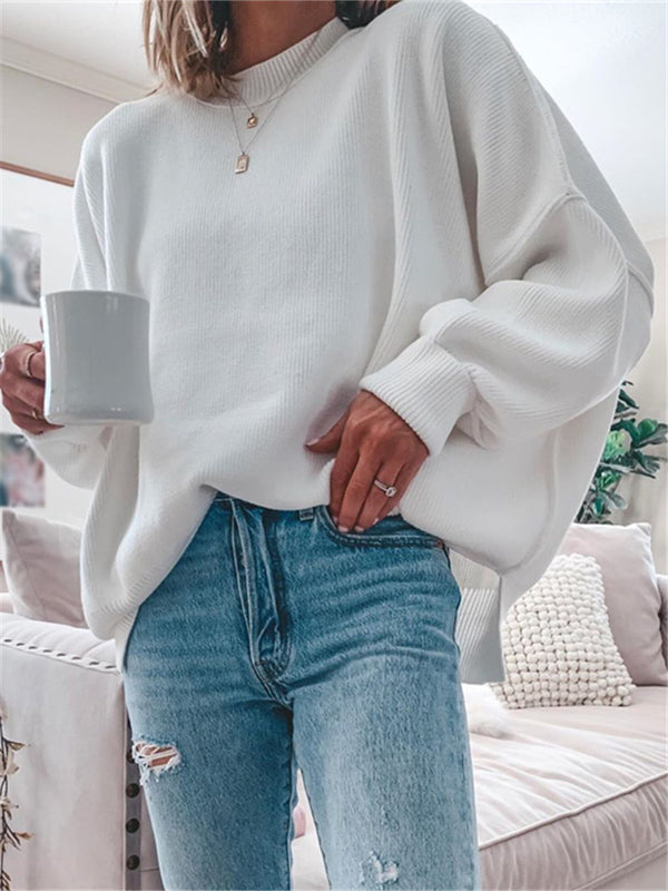 Casual solid color long-sleeved T-shirt