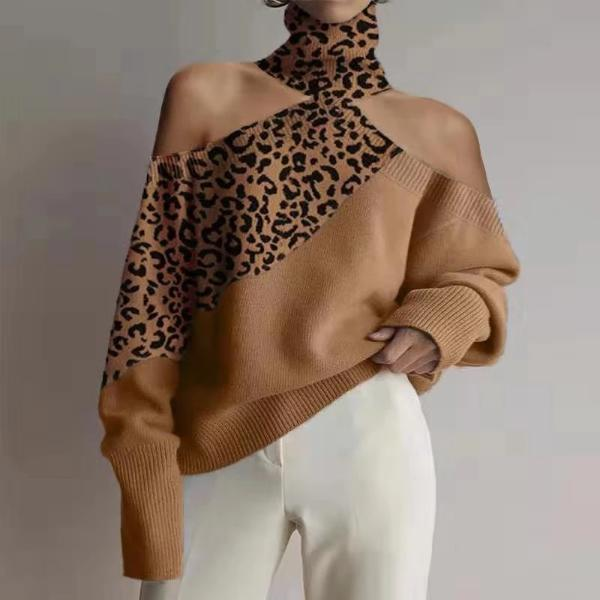 Elegant Leopard Print Off-Shoulder Sweater