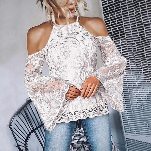 Women's Sweet Embroidered Lace Off-shoulder Halter Trumpet Sleeve Blouse