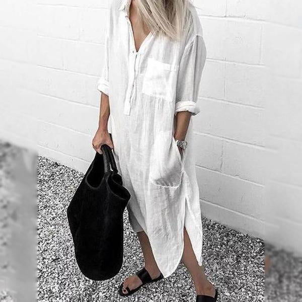 V Neck Casual Long Sleeve Cotton-Blend Dresses
