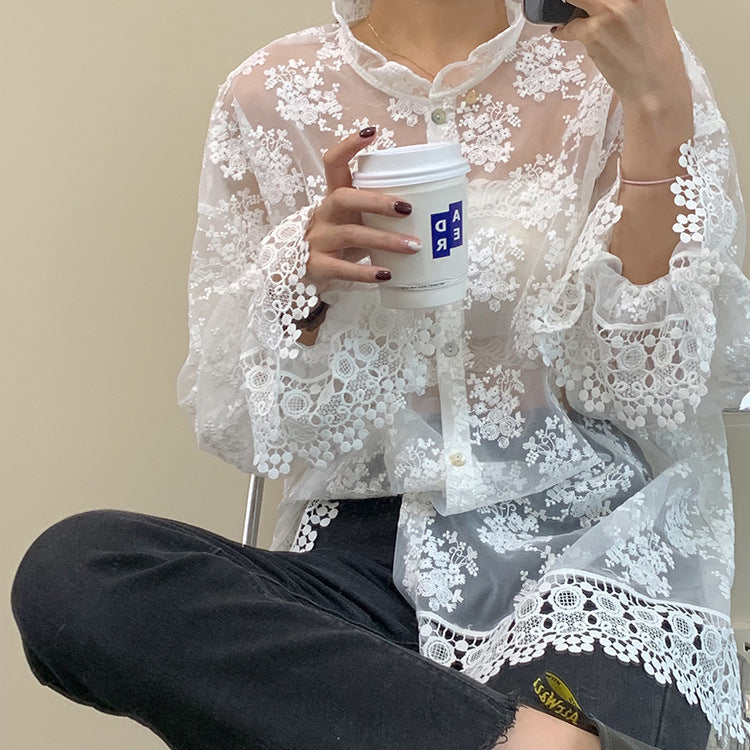Modern See-through Long-sleeved Lace Blouse