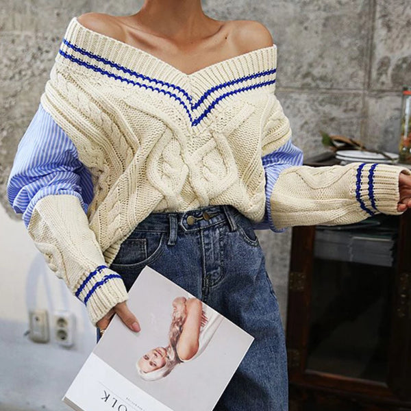 Women's Fashion Contrast Color V Neck Long Sleeve Splicing Sweater