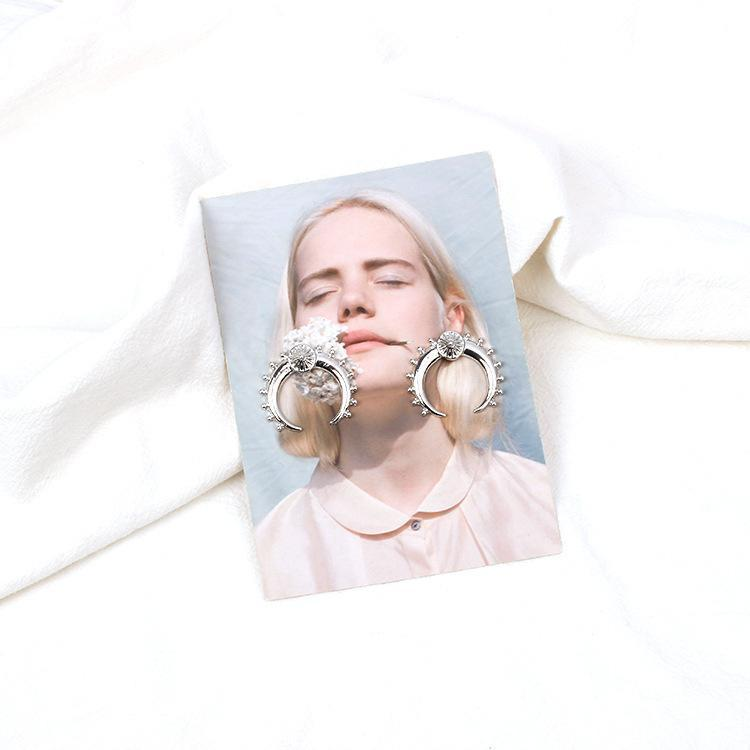 Fashion Punk Metal Moon Earrings