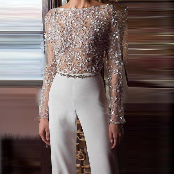 Fashion Elegant Pure Colour Splicing Sequins Jumpsuit