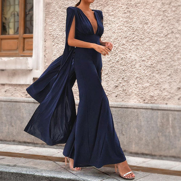 Sexy Dark Blue Long Sleeves Jumpsuit