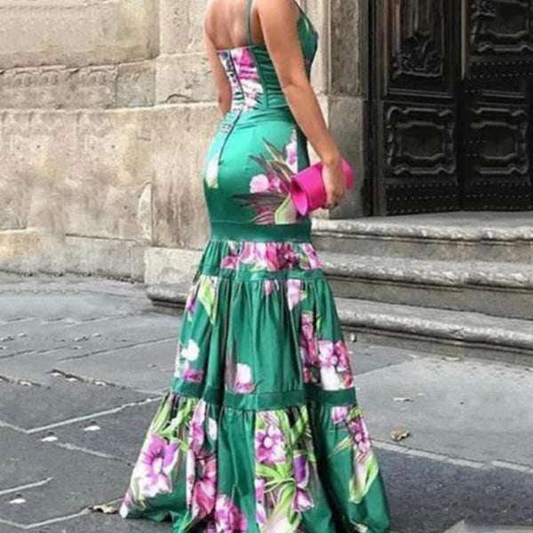 Sexy Floral Ruffles Layered Evening Dress
