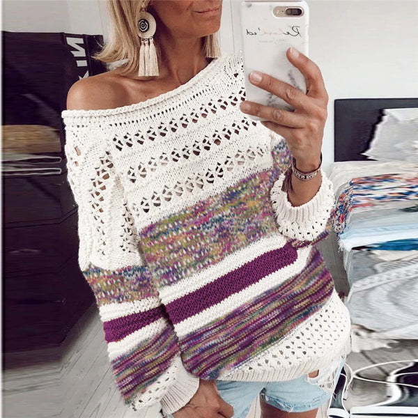 Casual Printed Round Neck Sweater