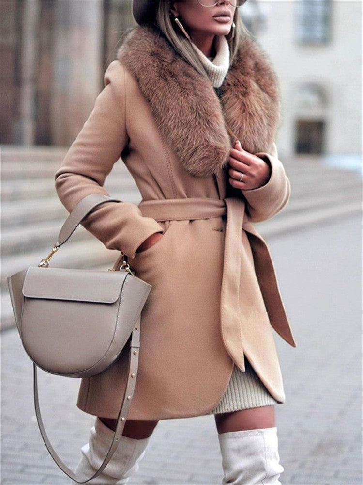 Fashion Fur Collar Belt Medium Length Coat
