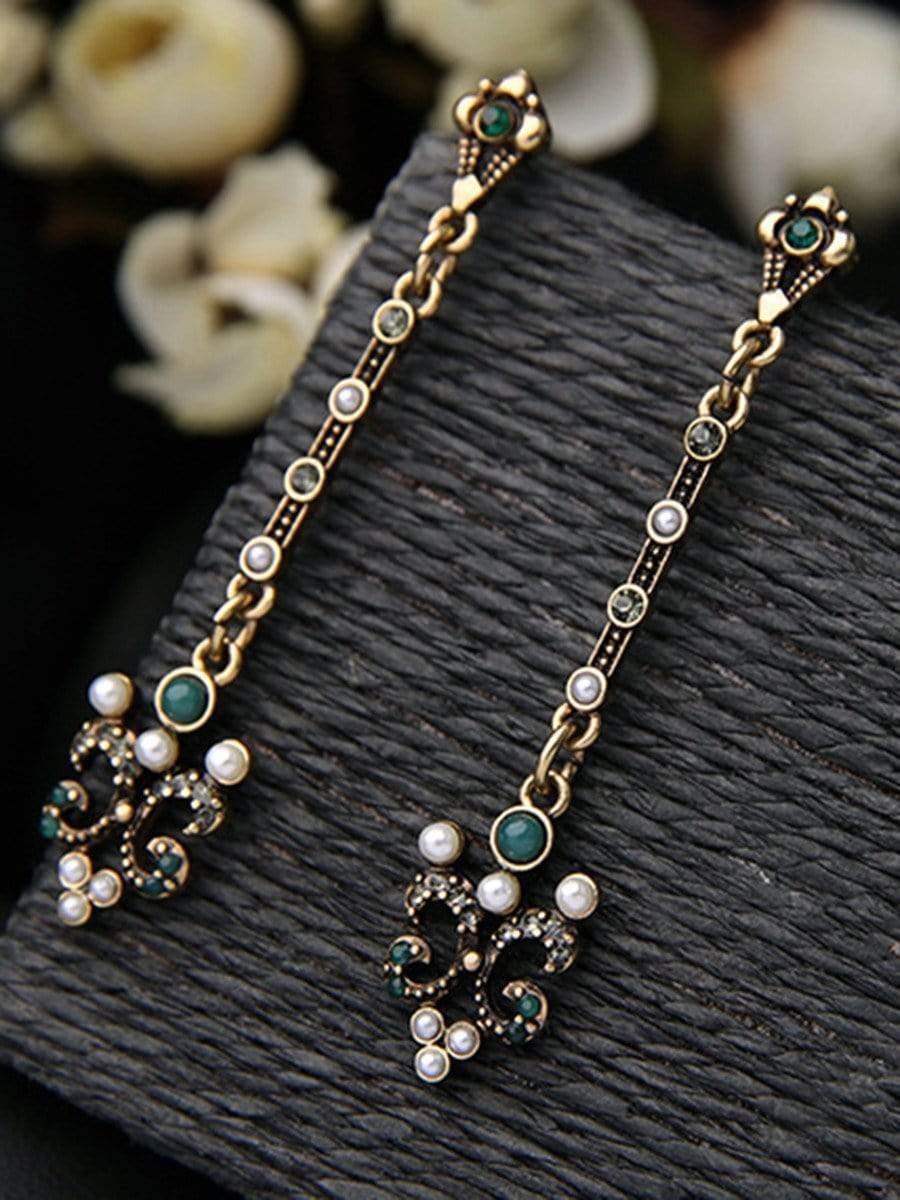 Casual Rhinestone Faux Pearl Drop Earrings