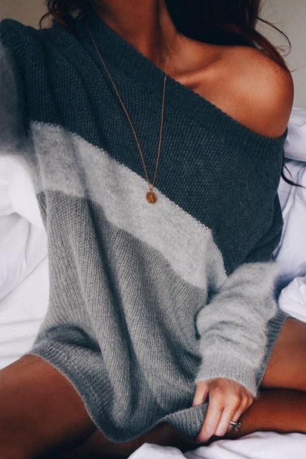 Scoop Neck  Color Block Sweater