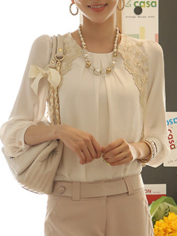 Round Neck  Decorative Lace  Embroidery Blouse