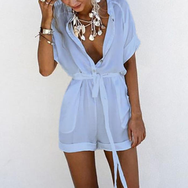 Casual V Collar Pure Color Playsuit Rompers