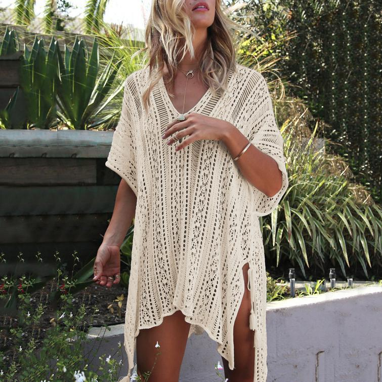 V-Neck Asymmetrical Side Slit Bikini Smock