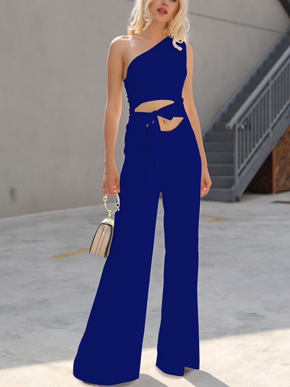 One Shoulder Cutout Tie Waist Wide Leg Jumpsuit