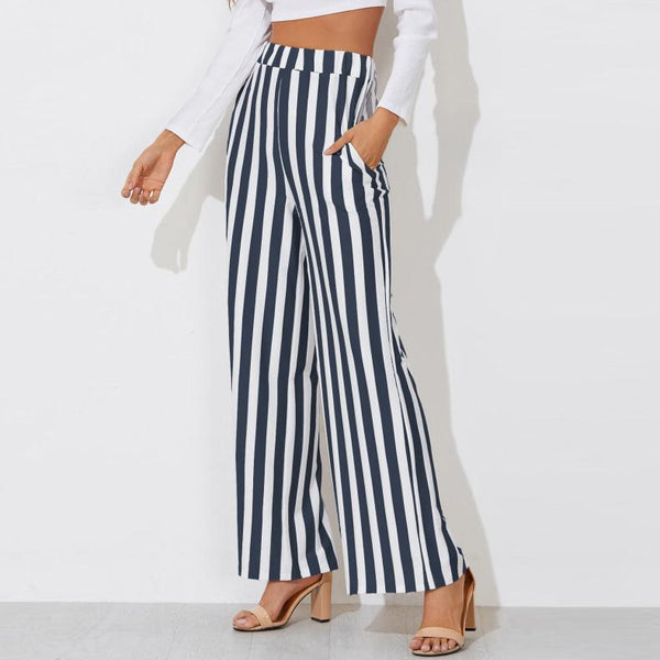 Stripe Wide Leg Trouser Pants
