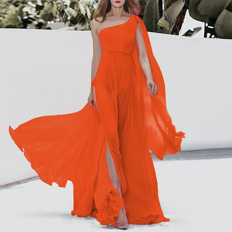 One Shoulder Chiffon Beach Dress For Vacation
