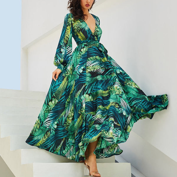 Sexy Long-Sleeve Printed Maxi Dress