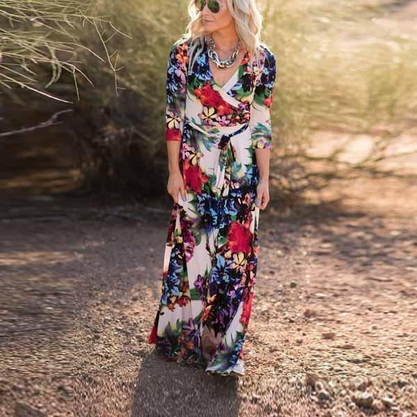 Printed Tie Seven-Sleeved Floral Vacation Dress