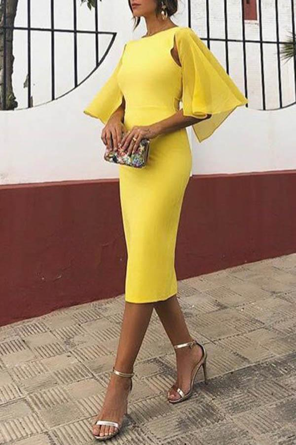 Elegant Backless Short Sleeve Bodycon Mini Dress