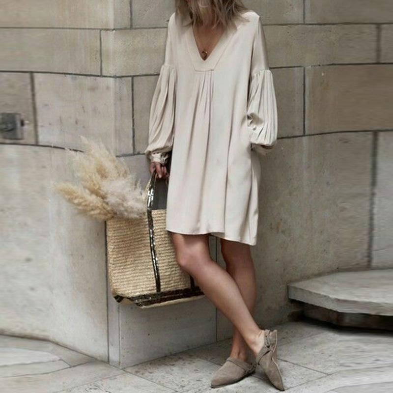 V Neck Pleated Lantern Sleeve Plain Mini Casual Dress