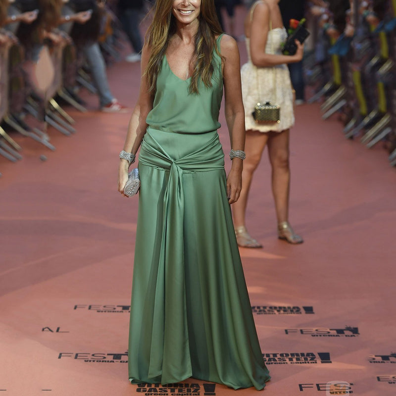 Sexy Green Sleeveless Plain Maxi Dress