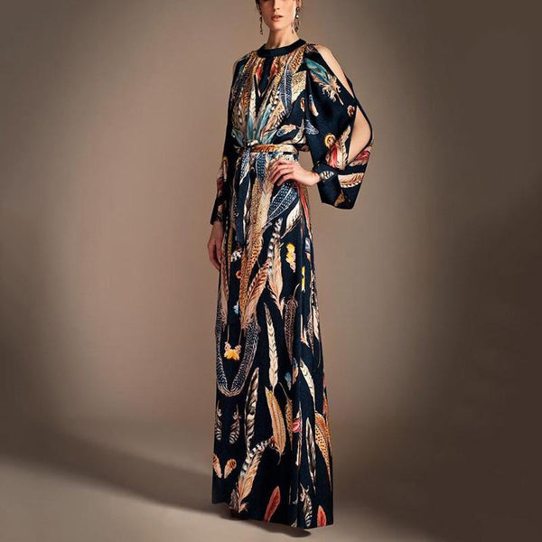Fashion Printed Split Sleeve With Belt Maxi Dress