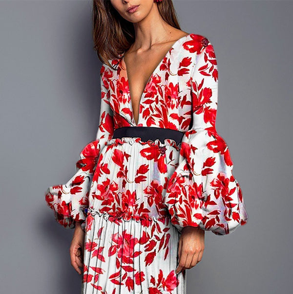 Sexy Printed Split Joint Floral Dress