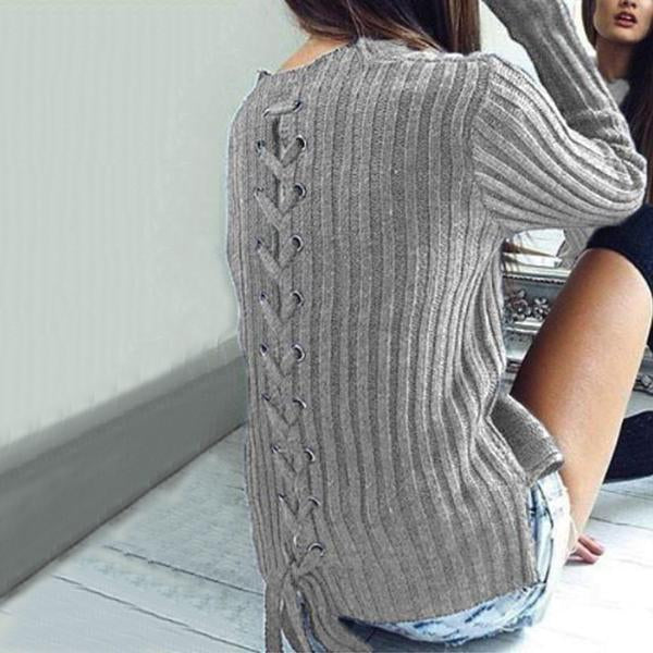 Crew Neck  Cross Straps  Plain Sweater