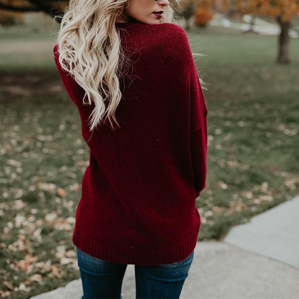 V Neck Cross Long Sleeve Plain Sweater
