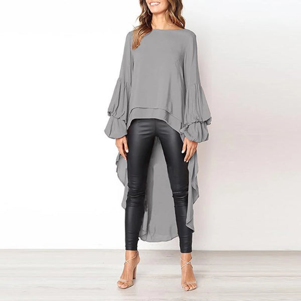 Asymmetric Hem  Plain  Lantern Sleeve  Blouse