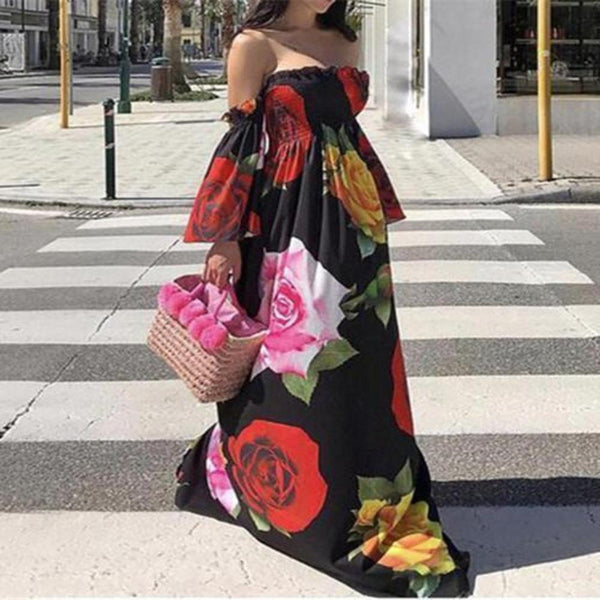 Sexy Breast Floral printed Loose Maxi Dress