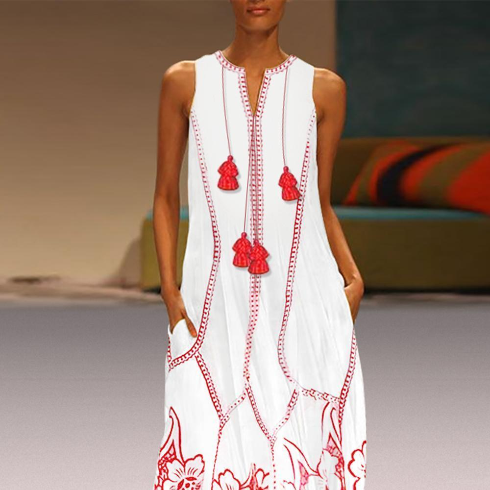 Chinese-Style Printed Cotton And Linen Maxi Dress