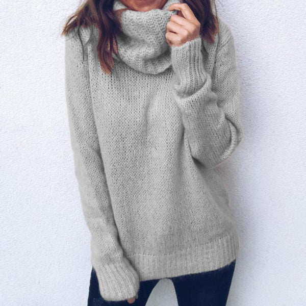 Solid Color Long-Sleeved High-Neck Pullover Sweater