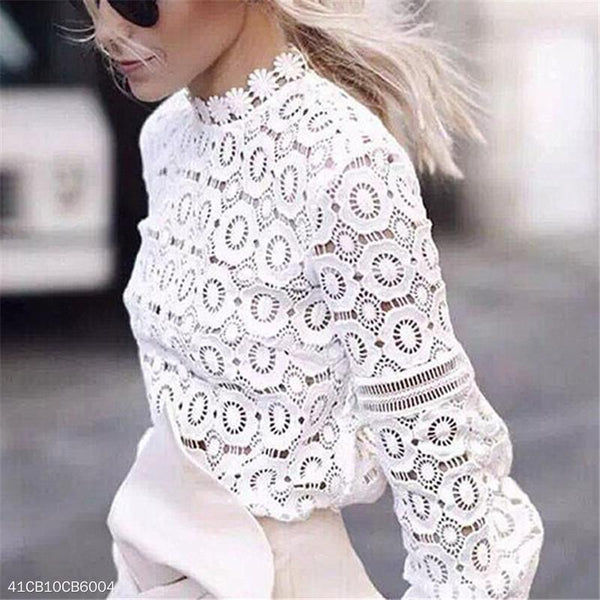 Hollow Lace Lantern Sleeves Fashion Blouse Top