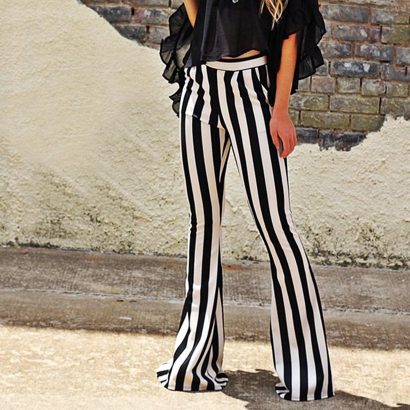 Black And White Stripes Micro Lama Autumn High Waist Trousers