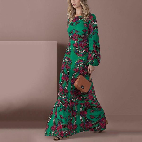 Elegant Green Long-Sleeved Floral Printed Maxi Dress