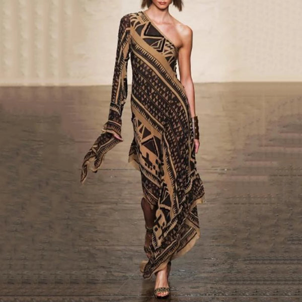 Elegant One-Shoulder Printed Evening Dress