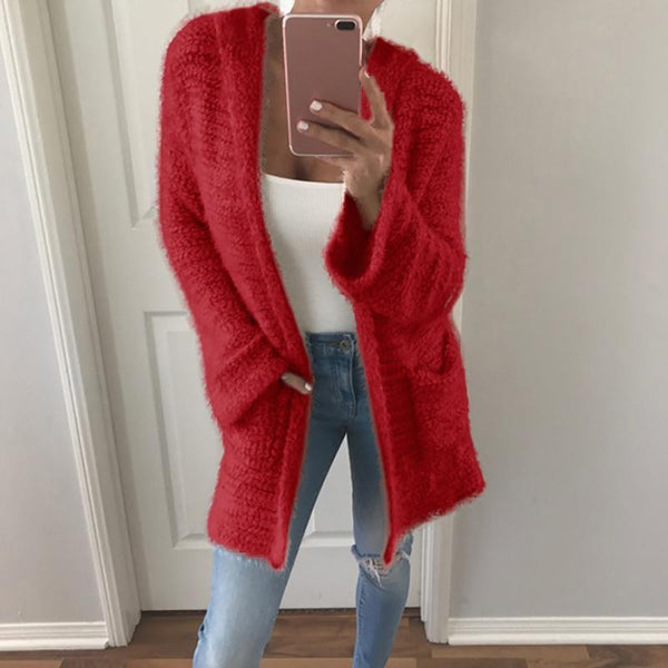 Hooded Solid Color Knit Cardigan Sweater