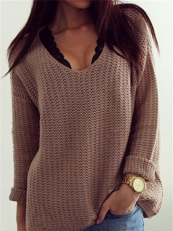 Retro Casual Popular Hollow V Neck Loose Long-Sleeved Sweater