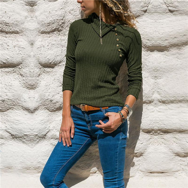 Fashion Collared Button Decorative Pit Sweater