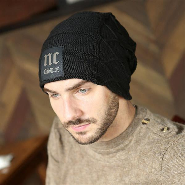 Mens Plus Velvet Knitted Hat NC Letter Skullies Beanie Hat