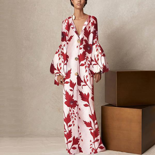 V Collar Long-Sleeved Printing Loose Casual Maxi Floral Dress