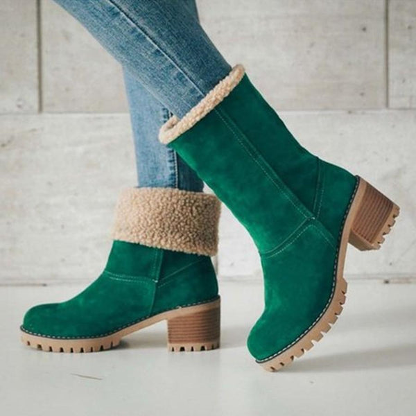 Plain  Mid Heeled  Velvet  Round Toe  Casual  Mid Calf High Heels Boots