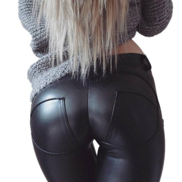 Sexy High Waist PU Leather Pants