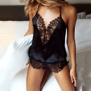 Sexy Lashes Lace Deep V Lingerie