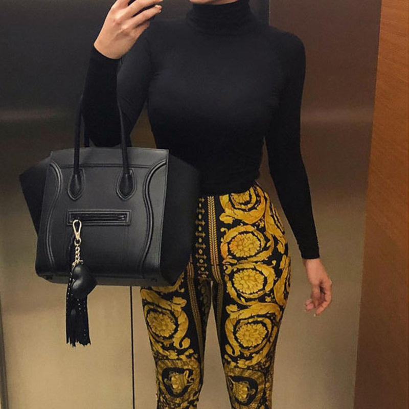 High-Waist Printed Fashion Fitting Leggings Pants